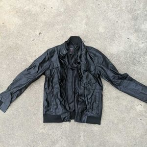 Guess Jacket Black Full Zip  L/S Faux Leather Sz M
